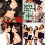 Gatas QB - Topless Office Babes Nuts | Stacey Poole, Kelly Hall, Geena Mullins e Lucy Collett | Nuts Magazine | 4 Janeiro 2013