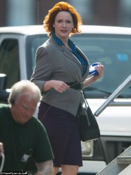 Christina Hendricks - on the set of 'How To Catch A Monster' in Detroit 5/7/13