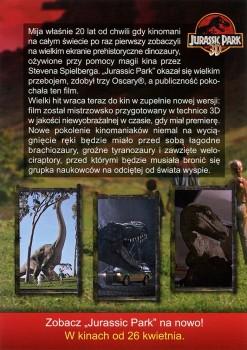 Tył ulotki filmu 'Jurassic Park 3D'