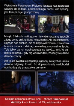 Tył ulotki filmu 'Paranormal Activity 4'