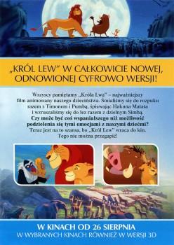 Tył ulotki filmu 'Król Lew 3D'