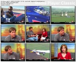 DARYA FOLSOM flightsuit, couch, short blk skirt - kron4 newsbabe - 10.7.2005