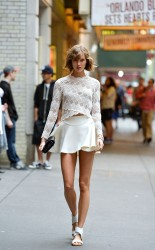 Karlie Kloss - photoshoot in Times Square NYC 10/6/13