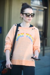 Lily Collins - leaving the gym in LA 11/1/13