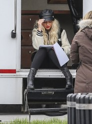 Christina Aguilera - On the set of 'Zoe' in Toronto 5/12/17
