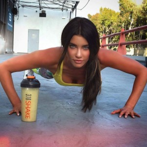 Jacqueline Macinnes Wood Cleavage In A Wife Beater Workout Pose