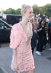 Elle Fanning - Arriving at the Miu Miu Fashion Show in Paris 7/2/17