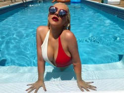 Christina Aguilera in a Pool - 7/4/17 Instagram